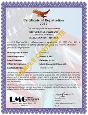 fda registration certificate